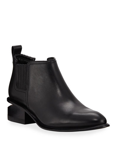 Kori Low-Heel Leather/Suede Booties