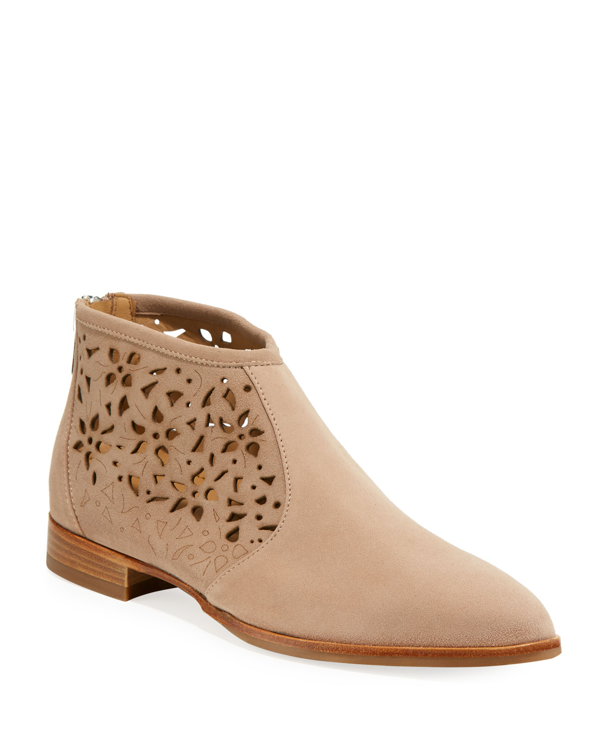 b7863346ab2 Perla Waterproof Laser-Cut Ankle Booties