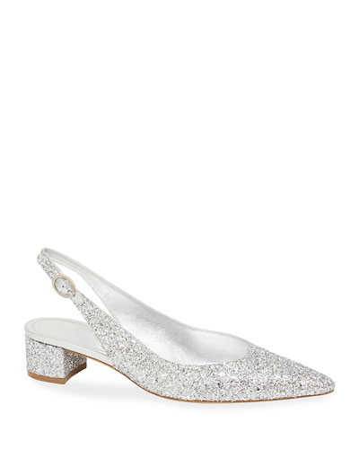 Pointed Glitter Slingback Pumps