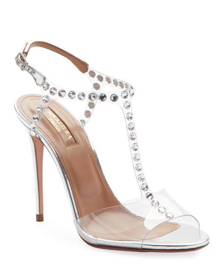 Aquazzura Shine Embellished PVC Sandals