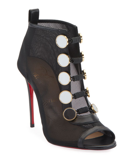 Christian Louboutin Marikat Open-Toe Toggle Red Sole Booties