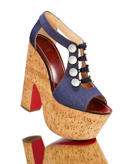 Christian Louboutin Ordonanette 160 Denim Platform Red Sole Sandals