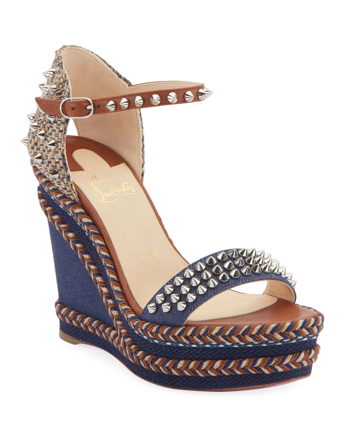 cb709ff490 Christian Louboutin Madmonica 120mm Spiked Denim Wedge Red Sole Sandals
