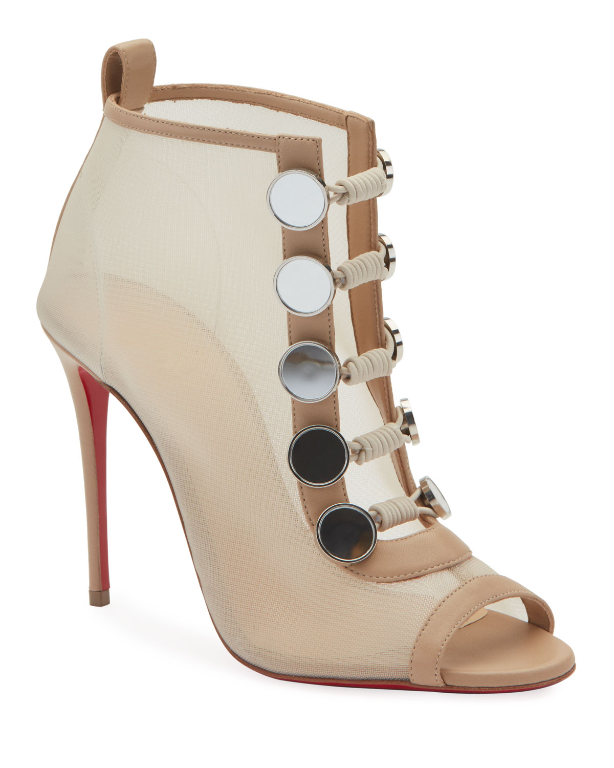 reputable site c0158 0023a Marikat Open-Toe Toggle Red Sole Booties