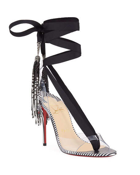 bc9af8b2d220 Christian Louboutin Marie Paillette 100 Red Sole Sandals In Version  Silver-Black