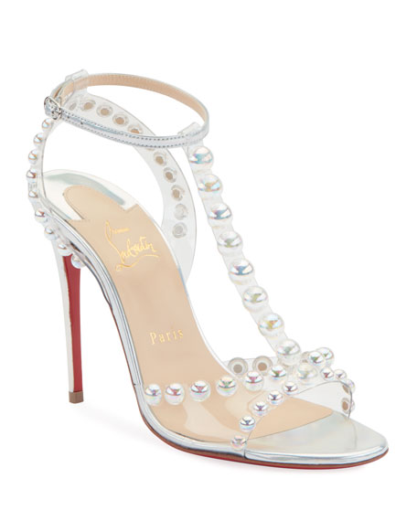 Christian Louboutin Faridavavie See-Through Vinyl/Metallic Red Sole T-Strap Sandals