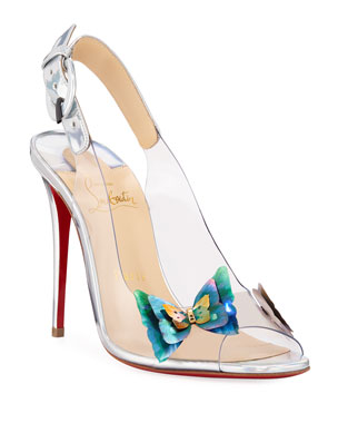 61bcf8e8b367 Christian Louboutin Ilcepoze 100 See-Through Red Sole Pumps with Butterfly