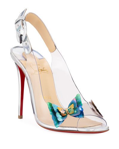Ilcepoze 100 See-Through Red Sole Pumps with Butterfly
