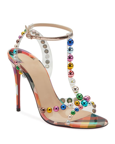 Christian Louboutin Faridavavie See-Through Vinyl/Patent Red Sole T-Strap Sandals