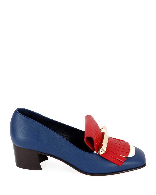 120700e1a78db Valentino Garavani Uptown Colorblock Kitten-Heel Kiltie Loafers | Neiman  Marcus