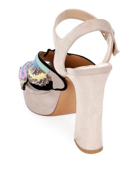 Valentino Garavani Suede Butterfly Platform Sandals
