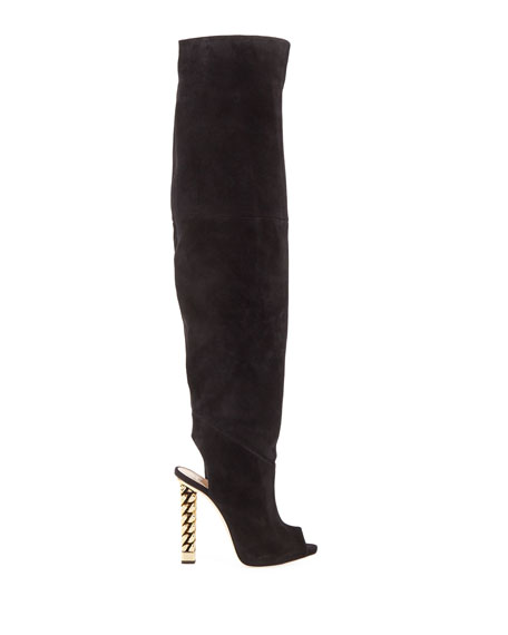 Giuseppe Zanotti Over-the-Knee Suede Chain-Heel Boots