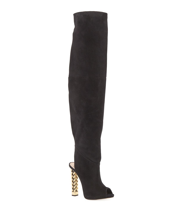 4aafc650c17bf Giuseppe Zanotti Over-the-Knee Suede Chain-Heel Boots   Neiman Marcus