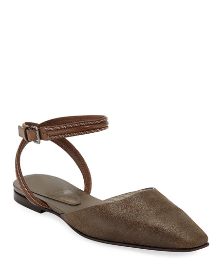 Brunello Cucinelli Metallic Ankle-Wrap Mules