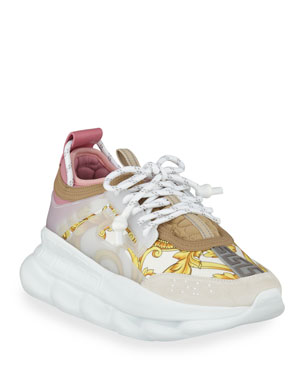 550075de2dde3 Versace Chain Reaction Barocco-Print Chunky-Heel Sneakers