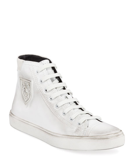 Saint Laurent Bedford Leather Lace-Up Sneakers