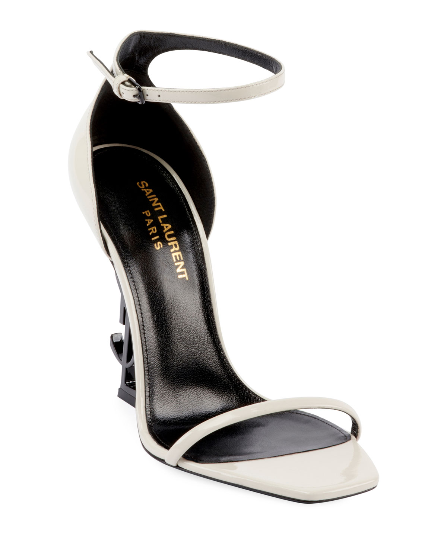 ecfa51716a4 Saint Laurent Opyum YSL Logo-Heel Sandals with Black Hardware ...