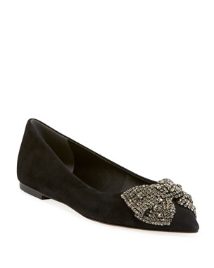 d33e65465ad Tory Burch Esme Crystal Bow Ballet Flats from Neiman Marcus - Styhunt