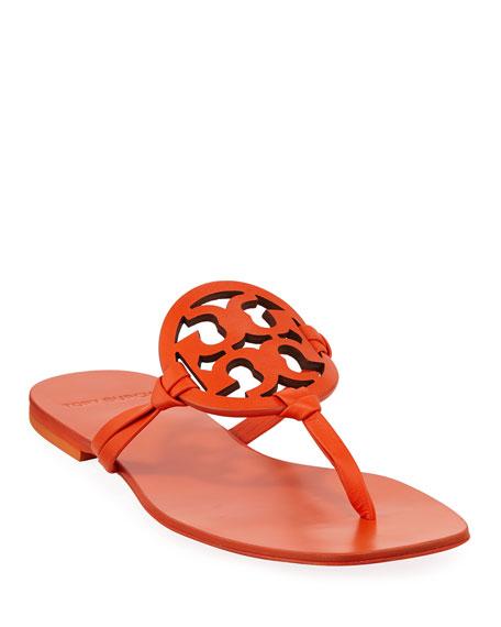 b31c02028ba Tory Burch Miller Square-Toe Flat Slide Sandals