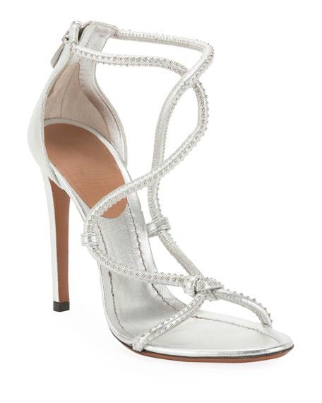 ALAIA Twisted Studded Metallic Leather Sandals
