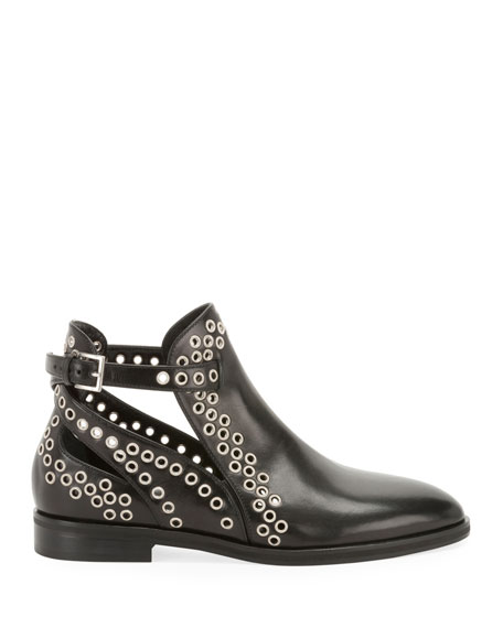 Image 2 of 3: ALAIA Leather Booties with Grommets