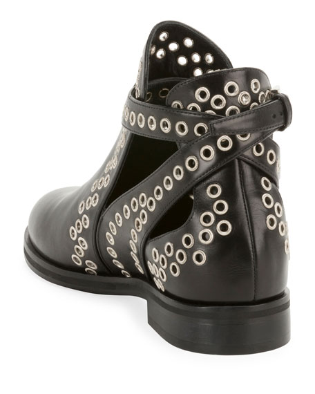 Image 3 of 3: ALAIA Leather Booties with Grommets