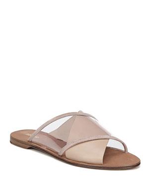 a16512e85 Diane von Furstenberg Bailie-4 Clear Crisscross Slide Sandals