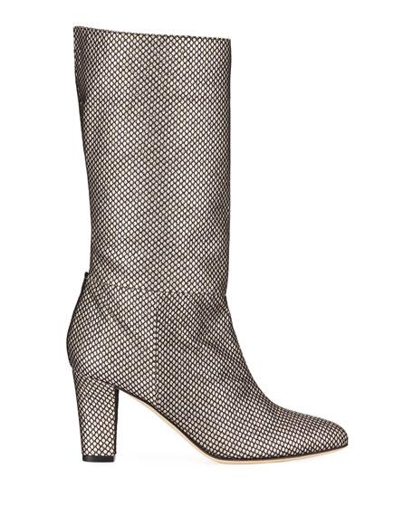SJP by Sarah Jessica Parker Reign Glitter Mesh Block-Heel Boots