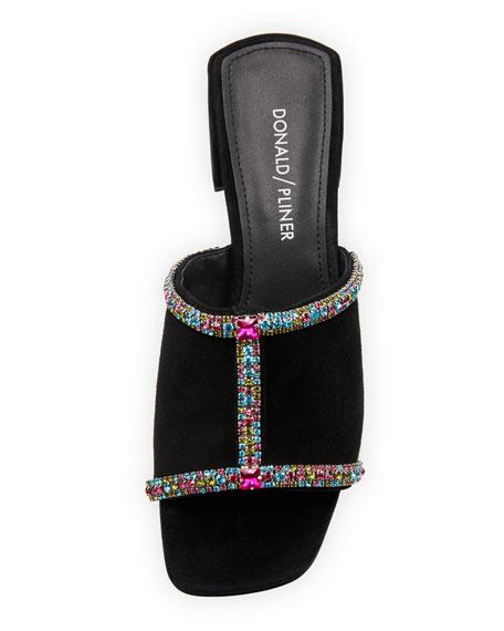 Bete Crystal Embellished Suede Mule Sandals
