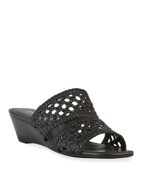 Donald J Pliner Albi Woven-Leather Demi-Wedge Slide Sandals