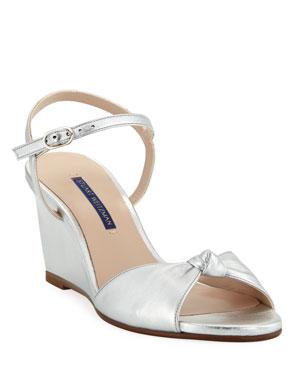 3a20f3e129346 Stuart Weitzman Gloria Metallic Wedge Sandals