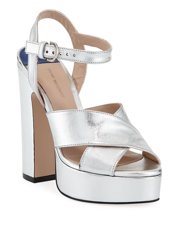 6719a6ca6101a Stuart Weitzman Joni Metallic Platform Sandals