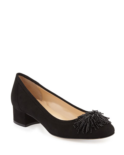 Flynn Beaded Suede Pumps  Black