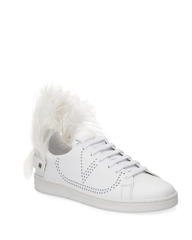 45f439f8ac9e5 Valentino Garavani Feather-Heel Calf Leather Sneakers