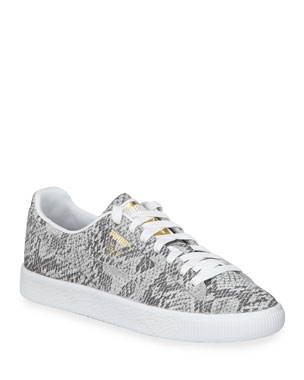 save off 71e1f 3bde4 Puma Clyde Snake-Print Leather Lace-Up Sneakers