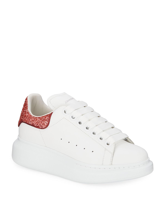 0df01ca8896b Alexander McQueen Oversized Glitter-Trim Leather Platform Sneakers ...