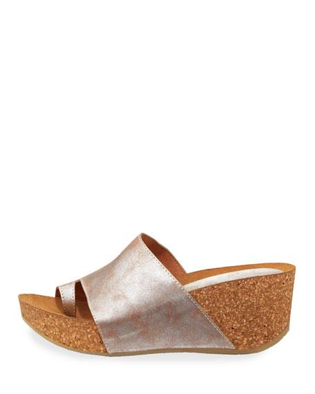 Donald J Pliner Ginie Metallic Leather Wedge Slide Sandals