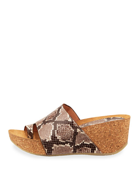 Donald J Pliner Ginie Snake-Print Leather Wedge Slide Sandals