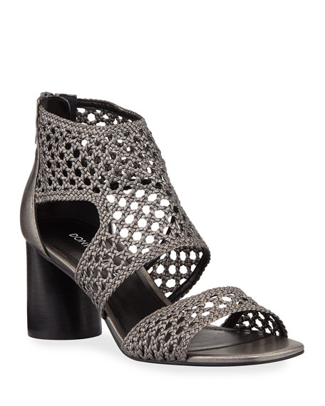 Donald J Pliner Herra Metallic Woven Leather Sandals