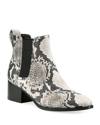 Walker Snake-Embossed Leather Chelsea Boots