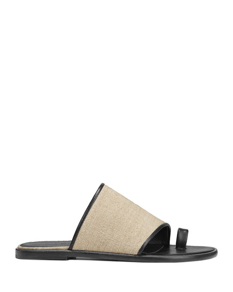 d2096b6359fe Image 2 of 4  Edan Flat Linen Slide Sandals