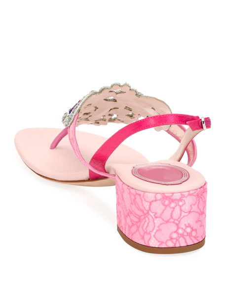 Rene Caovilla Embroidered Satin/Lace Block-Heel Sandals