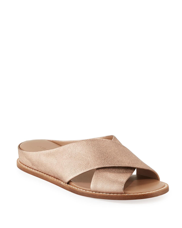 11dd0e25799 Vince Fairley Metallic Leather Wedge Slide Sandals
