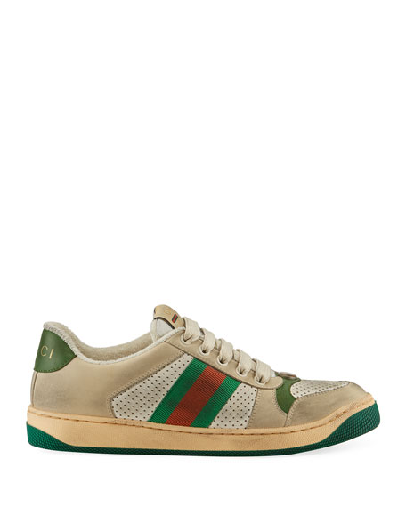 Gucci Screener Dirty Lace-Up Sneakers