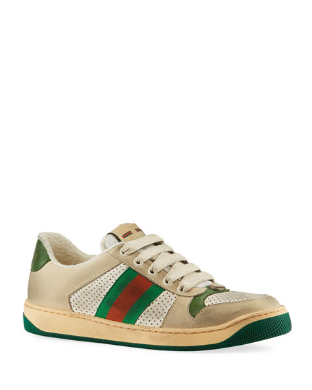 Gucci Sneakers Screener Distressed Lace-Up Sneakers