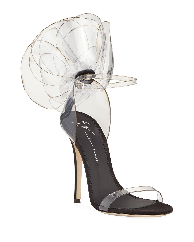 587367dd49586 Giuseppe Zanotti Vinyl Flower Ankle-Strap Sandals | Neiman Marcus