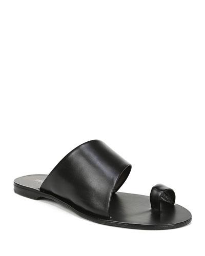 Brittany Leather Flat Slide Sandals