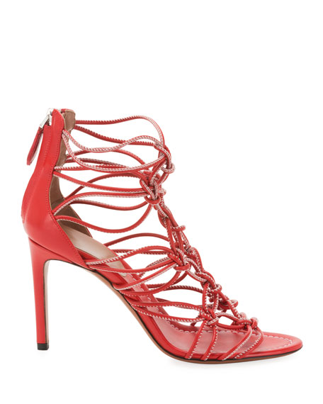 ALAIA Elegant Knotted Cord Zip Sandals