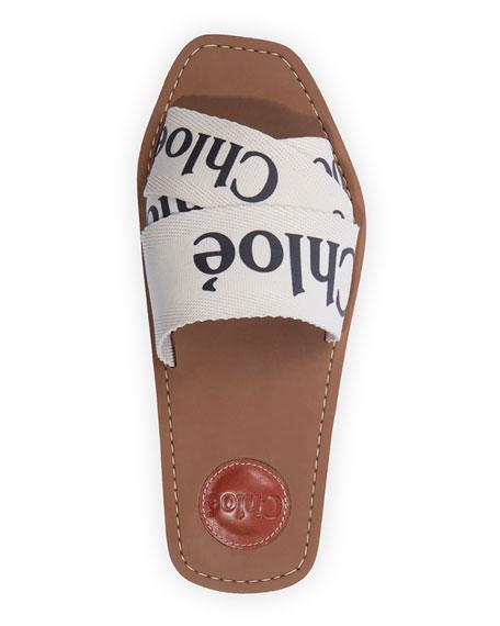 Chloe Woody Flat Logo Ribbon Slide Sandals