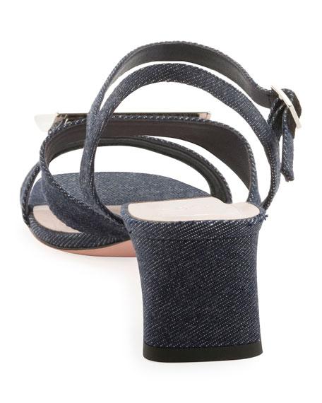 Roger Vivier Metal Buckle Denim Sandals